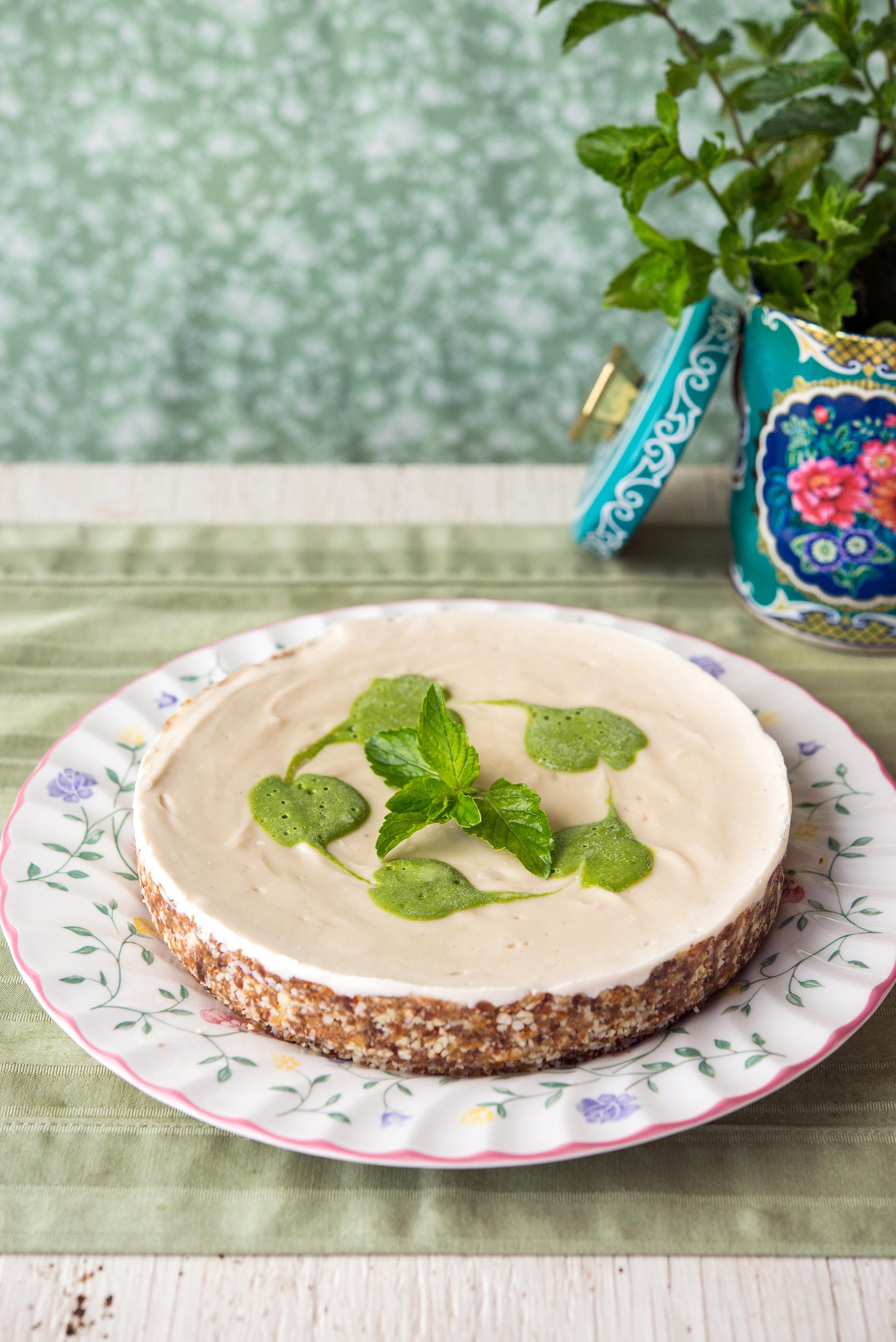 Vegan Vanilla Mint Cheesecake