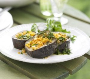 Aubergine with Spicy Apricot Tabbouleh – Perfect Vegan BBQ Options