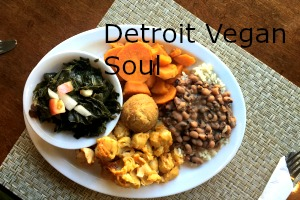 Detroit Vegan Soul black-eyed pea hummus and Southern fried tofu bites with spicy buffalo dipping sauce