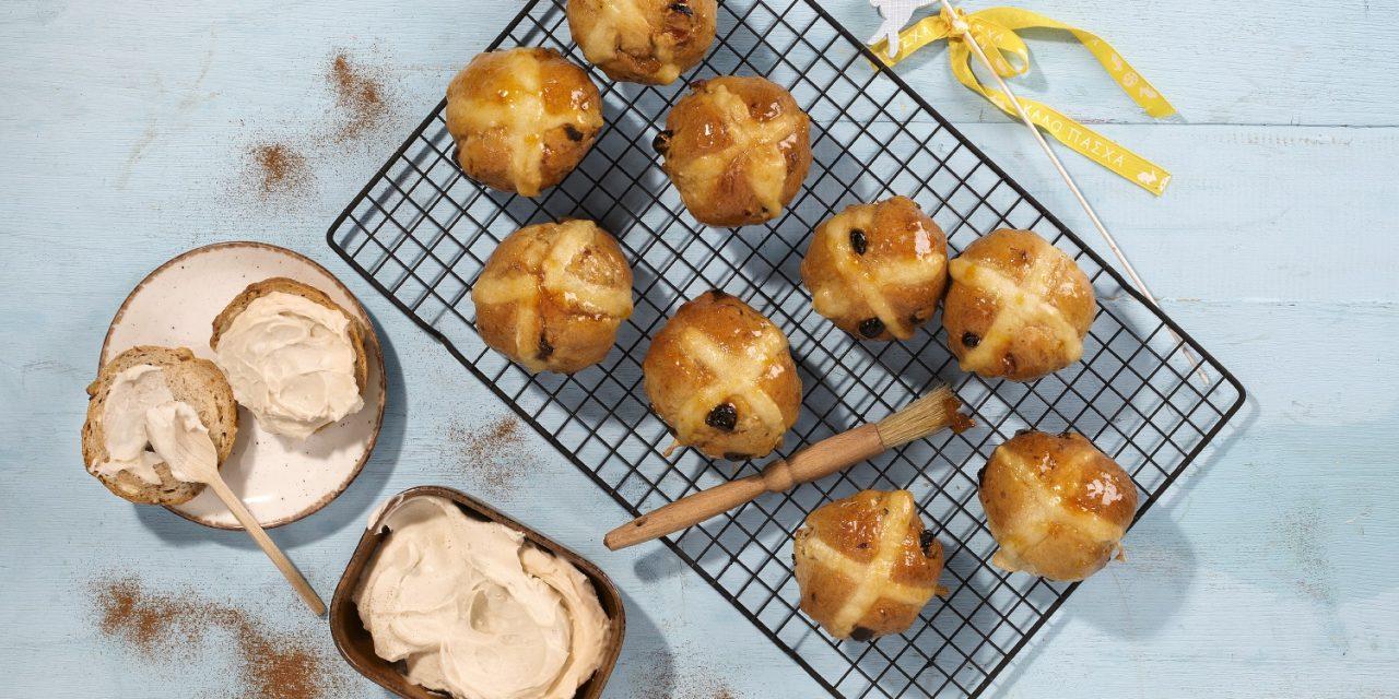 Vegan Hot Cross Buns with Creamy Caramel Filling