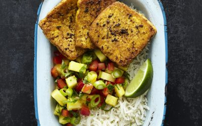 Jerk Smoked Tofoo with Pineapple Salsa and Coconut Rice
