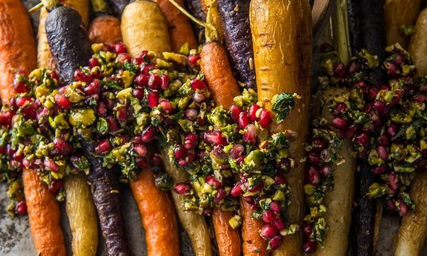 Traeger Roasted Carrots With Parsley Vinaigrette And Pomegranate Seeds