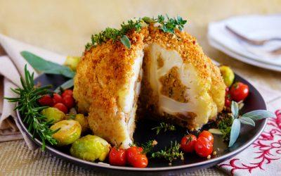Vegan Christmas Stuffed Cauliflower