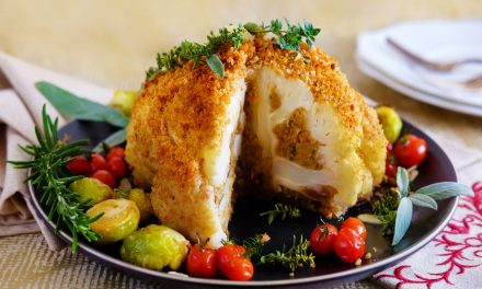 Vegan Christmas Stuffed Cauliflower